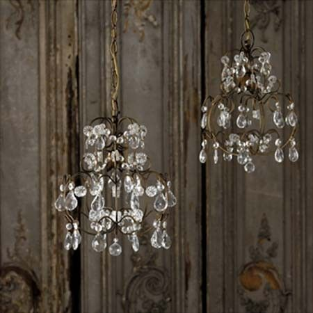graham and green pretty chandeliers  - perfect for tiny bathrooms <3