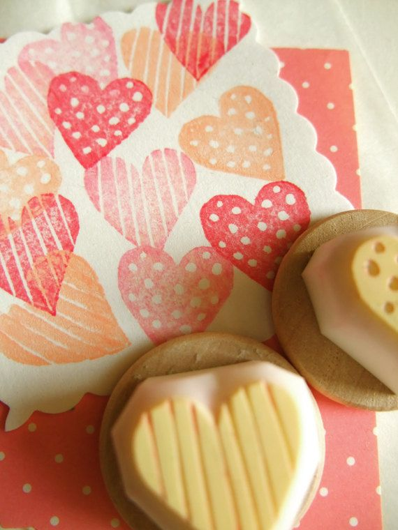 Valentinesco :) love heart hand carved rubber stamp  handmade by talktothesun