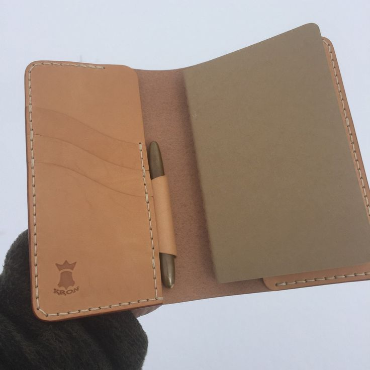 Adding a Space Pen sleeve to a notebook wallet is a free add on. Just send a message requesting that. #kron #handcrafted #leather #accessories #stationery #wallet #notebook #journal #fieldnotes #gear #vegtan #patina #handmadejournal