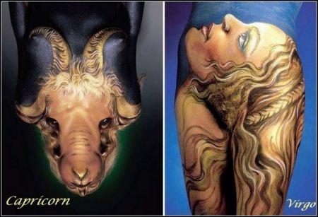 Необычный гороскоп в виде боди-арта Astrology Body Painting