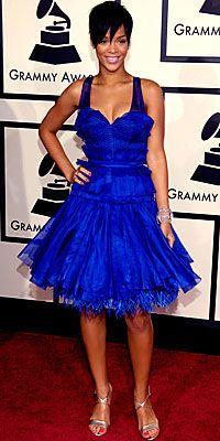 Rihanna in Zac Posen at the 2008 Grammy Awards