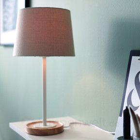 Textil-Tischleuchte Limba mit Holzfuß sicher & bequem online bestellen bei Lampenwelt.de.