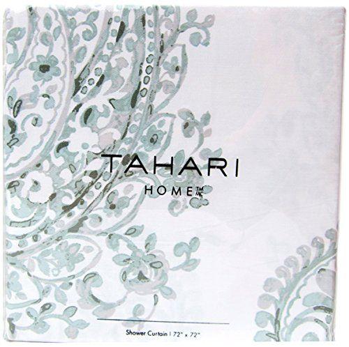 Tahari Luxury Cotton Blend Shower Curtain Grey Seafoam Gray Sage Large China Paisley Medallions