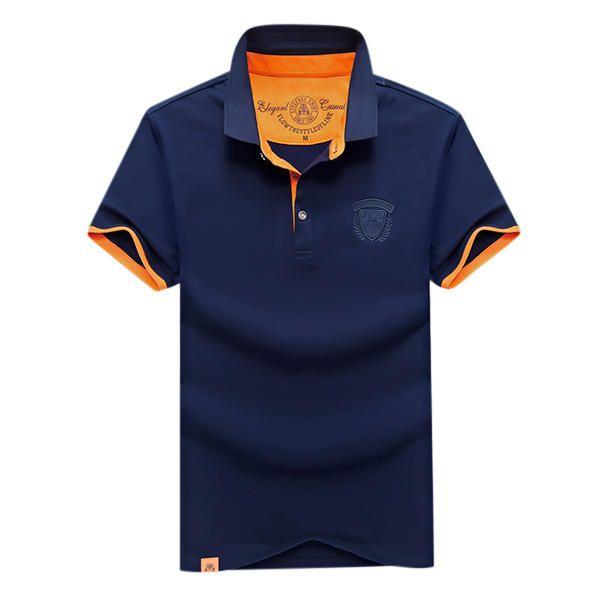 Summer Casual Lapel Short Sleeved T-shirt Men's Cotton POLO Shirt at Banggood