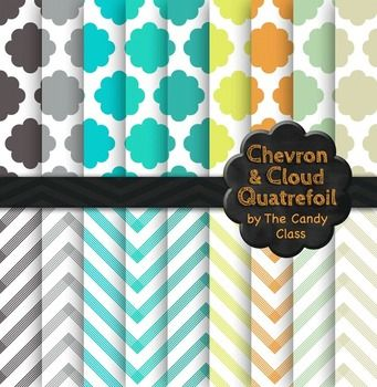 Free freebie free...Chevron and Cloud Quatrefoil Digital Paper Backgrounds high resolution at 300 dpi and in png format.