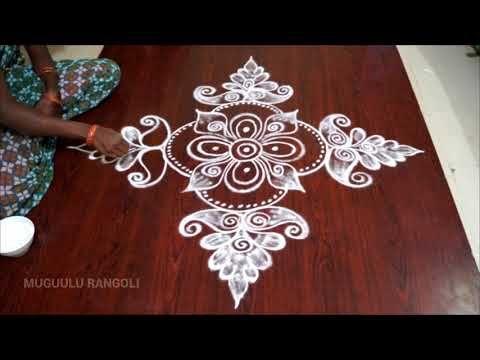 very easy dots kolam with 11 * 5 dots rangoli simple dots rangoli chukkala muggulu - YouTube