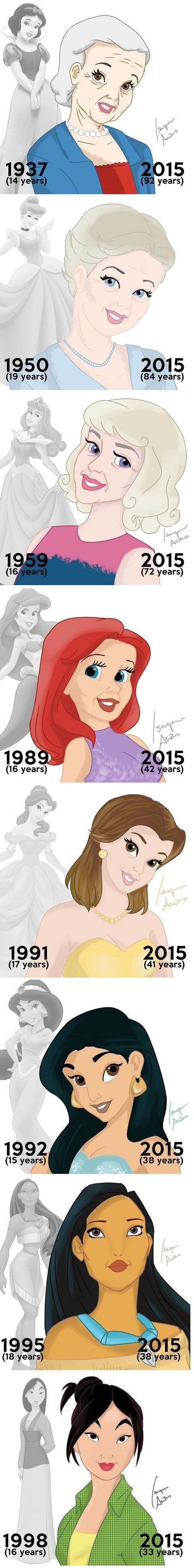 These are all the cartoon Disney princesses and how they would've aged. Heehee. Mulan doesn't look that different.