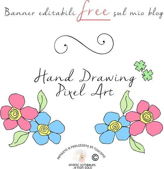 FREE BANNER HAND DRAWING - PIXEL ART SUL MIO POST: http://graficscribbles.blogspot.it/2016/06/banner-handdrawn-disegni-tutorial.html #banner #free #pixelart