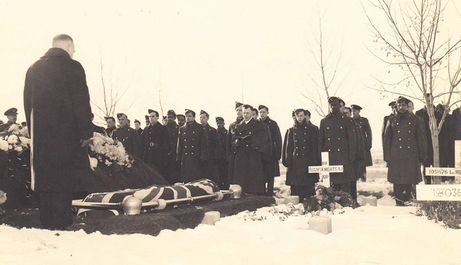 Maxwell Cassidy of the Royal Australian Air Force was given a full military funeral in North Battleford, Saskatchewan after he died in a training accident in December 1944.