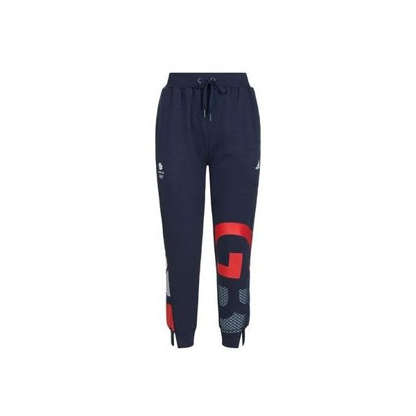 Adidas Team GB Cuffed Sweatpants ($56) ❤ liked on Polyvore featuring activewear, activewear pants, sweat pants, cuff sweat pants, cuff sweatpants, logo sportswear and cuffed sweatpants