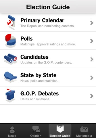 The New York Times Election 2012 app is the one-stop destination for politics news.    Follow the day's must-read political stories as they unfold throughout the day, with handpicked, up-to-the-moment coverage from around the Web and the complete New York Times political report. Plus, get the latest polling numbers, state-by-state projections, candidate bios and live election results at your fingertips.