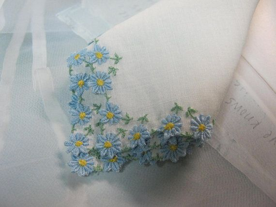 Vintage Handkerchief with Blue Flowers