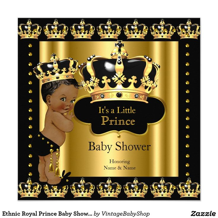 14 best Black Gold Prince Baby Shower invitations images on ...