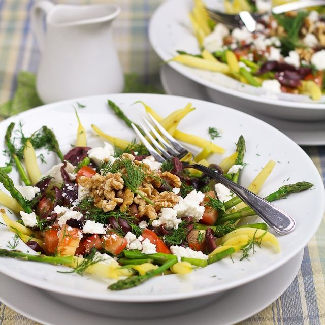 Wax bean and asparagus salad with feta and sun dried tomatoes! Nice ...