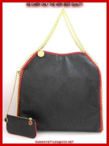 "Stella McCartney Falabella Chain Black W Fuchsia Whipstitched Trim.  Vegan-friendly faux leather with subtle sheen.   Fuchsia whipstitching & goldtone curb-chain trim.   ""Stella McCartney"" charm hangs from top handles; 9"" drop.   Dipped top with magnetic-snap closure.   Slouchy, yet structured body.   Fabric lining; inside zip & open pockets.   Measures 16"" long, 16"" high, 4"" deep. 8"" drop.  Coin purse included."