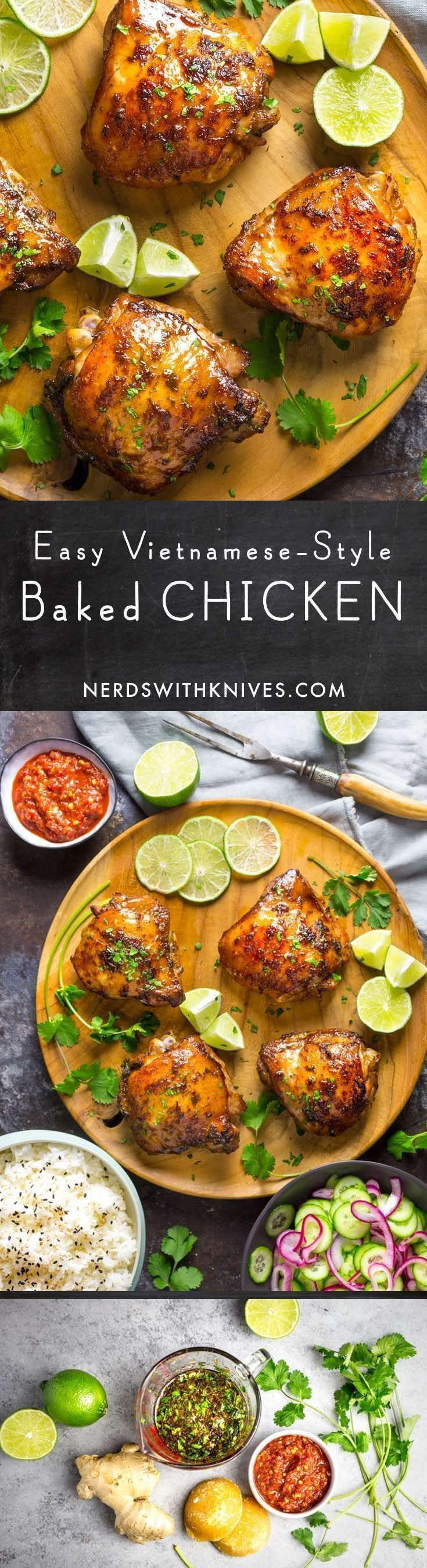Tender, juicy with crisp golden skin, our easy Vietnamese baked chicken is marinated in fish sauce, sugar, herbs and lime juice.