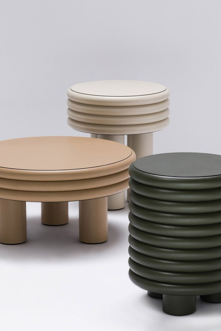 Stéphane Parmentier upholsters chubby furniture collection in leather