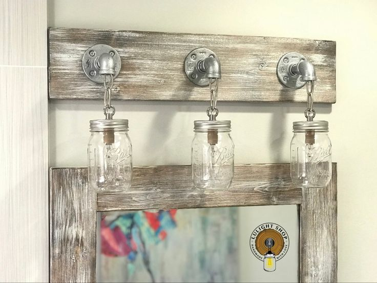 Nautical Bathroom Light Fixture: LIGHT WHITEWASH Mason Jar Light, Nautical Decor, Bathroom