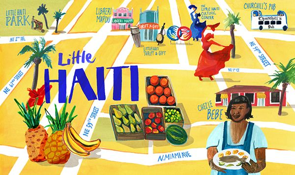Jessica Olah - An illustrated map of the neighborhood known as Little Haiti in Miami, Florida. This was published on the blog for Sixty Hotels.