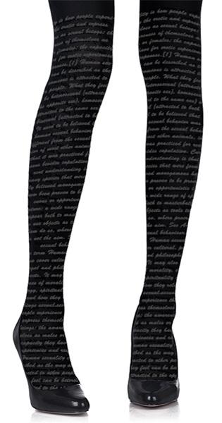 Text Print Tights Black & Grey - Zohara - TrendyLegs