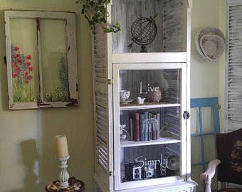 Shabby Chic Shutter Cabinet,Coastal furniture,Unique HANDMADE white cabinet,White furniture,Old Window,Shutters,Window Cabinet,Bath cabinet