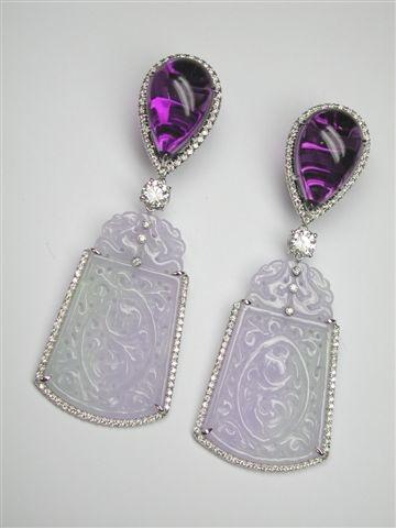 Margherita Burgener earrings in carved lavander jade, amethyst and diamonds