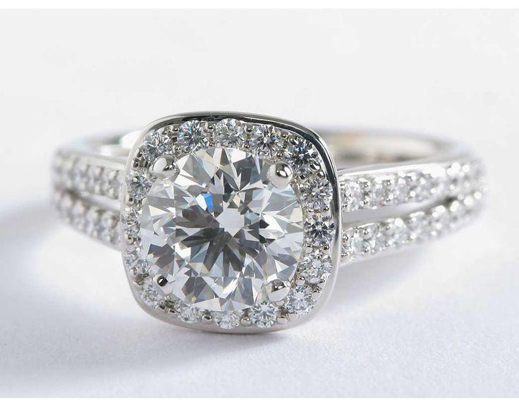 1.5 Carat Diamond Split Shank Halo Engagement Ring | Blue Nile Engagement Ring
