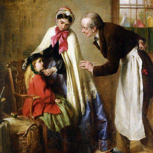 «ПЕРВЫЙ ВИЗИТ К СТОМАТОЛОГУ ». 1866. Эдвард Хьюз (1832-1908) .  На картине посещения стоматолога отражён добрый юмор художника. «Страшные» #инструменты #доктор с улыбкой прячет за спину или в фартук. #Лицо ребёнка серьёзное, бледное испуганное. #Мама пытается её утешить и уговаривает не бояться доктора. Мол, он только посмотрит, почему #болит #зубик ... ____________________________ #ART #ЖИВОПИСЬ #ИСТОРИЯ #МЕДИЦИНА #СТОМАТОЛОГИЯ #АРТ