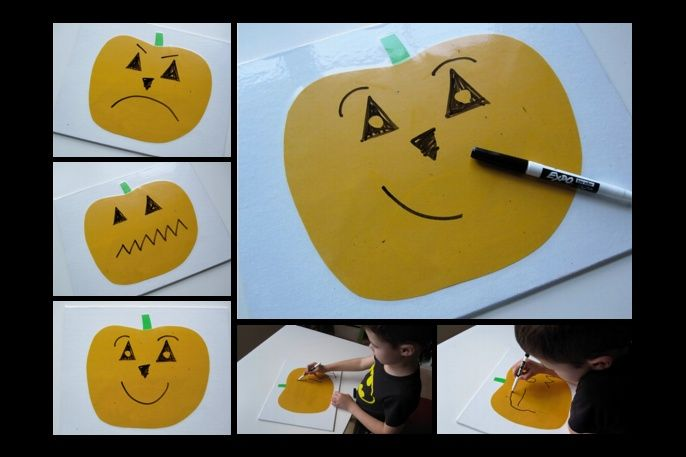 Dry Erase - Design Your Own Jack-O-Lantern. Great for teaching emotions.