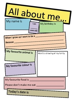 All about me posters and book - great activity for getting to know new students