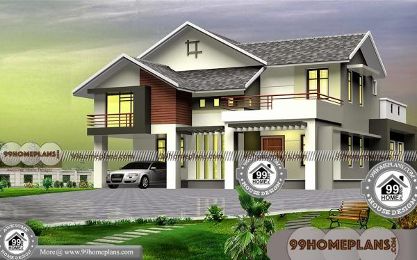 Two Story 4 Bedroom House Plans with 3D Elevations | Low ...