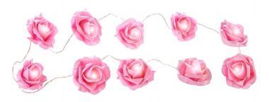 LED-Lichterkette, Rose, pink, 10er - Lichterkette im romantischen Rosen-Look. Länge der Lichterkette: 170 cm, Zulänge: 35 cm, batteriebetrieben 2x AA (Batterie nicht enthalten).Material: Kunststoff