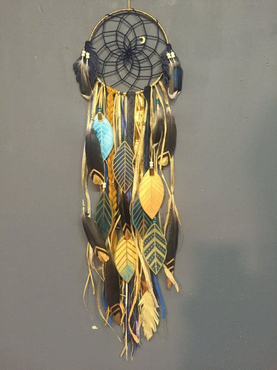 Indigo & Gold DreamCatcher with painted feathers by CosmicAmerican