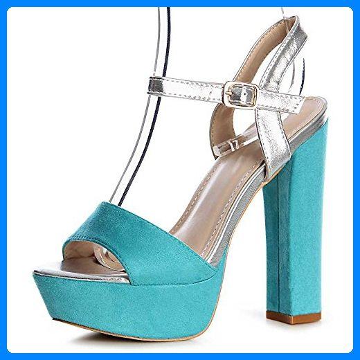 topschuhe24 1153 Damen Plateau Sandaletten Sandalen High Heels, Farbe:Türkis;Größe:39 - Damen pumps (*Partner-Link)