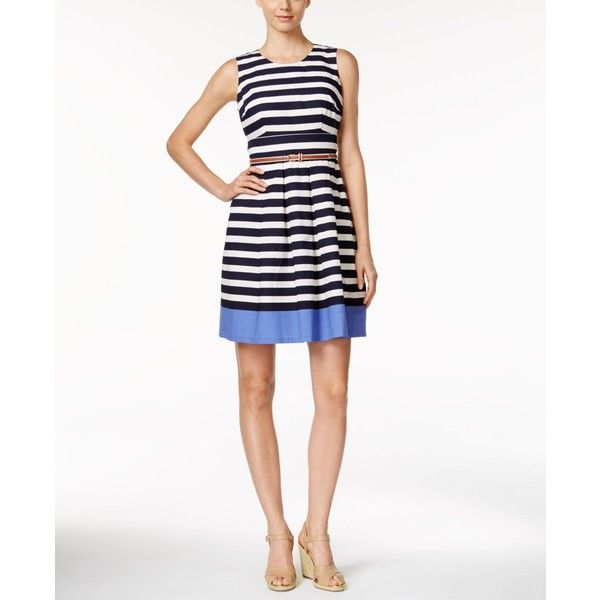 Charter Club Petite Striped Belted Dress, ($70) ❤ liked on Polyvore featuring dresses, intrepid blue, blue dress, blue white dresses, striped dress, nautical stripe dress and white belted dress
