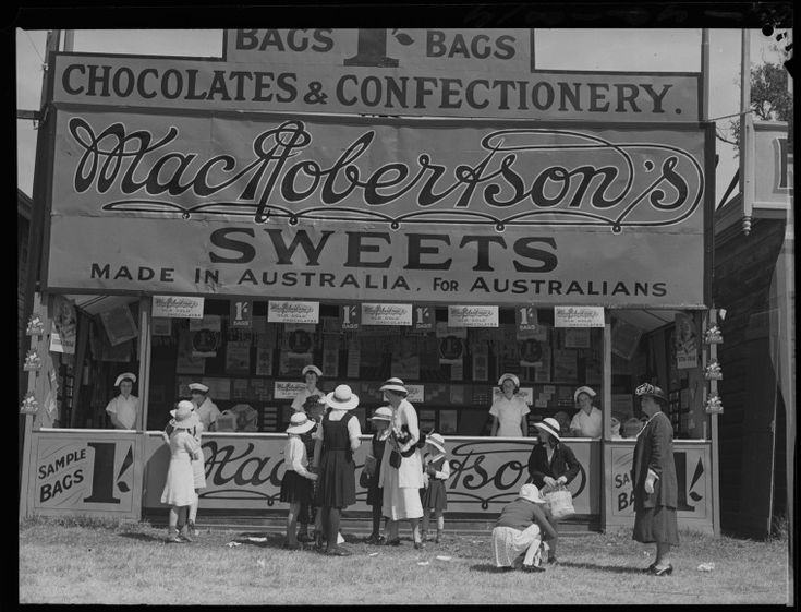 015797PD: MacRobertson's showbag stand, 1937.  http://encore.slwa.wa.gov.au/iii/encore/record/C__Rb2393892__SMacRobertson%27s%20Sweets%20showbag%20stand%20at%20__Orightresult__U__X6?lang=eng&suite=def