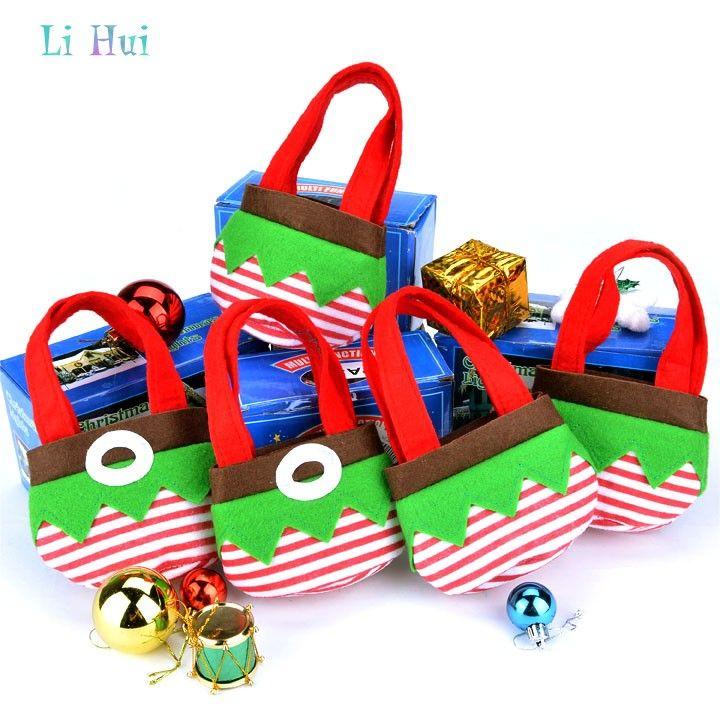 Ornamento de la navidad 5 unids bolsas de dulces navidad para la boda año nuevo embroma el regalo de navidad bolsas 13 X 19 X 7 cm 24(China (Mainland))