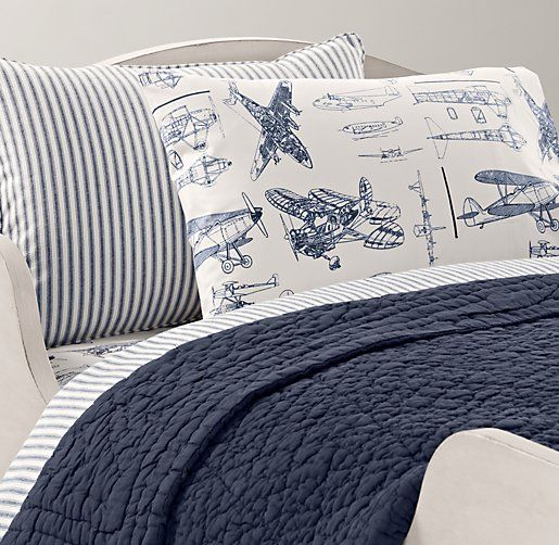 Gorgeous little boys bedding: Henley Stripe & European Vintage Airplane Blueprint Toddler Bedding Collection | Toddler Bedding Collections | Restoration Hardware Baby & Child
