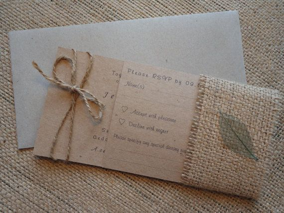 Rustic Wedding Stationary Pack Invitation RSVP by CreateTheDate, $4.80
