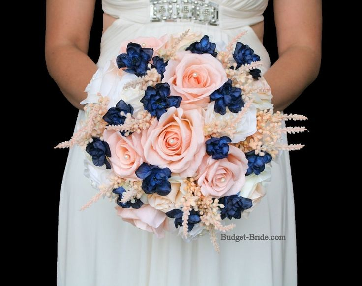 Peach and Navy blue wedding flower bouquet for bride or bridesmaid