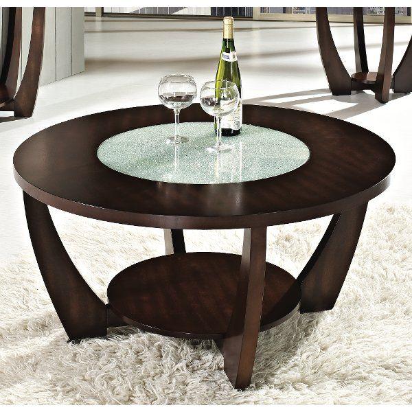 Modern Brown Round Coffee Table Rafael Cherry Wood Coffee
