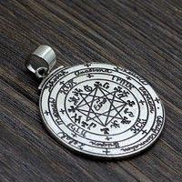 Wish | Amule Pagan Wicca Pendants Powerful Sun Talisman Key Of Solomon Seal Religeous Pendant Seventh Pentacle Of Saturn Necklace (Color: White)