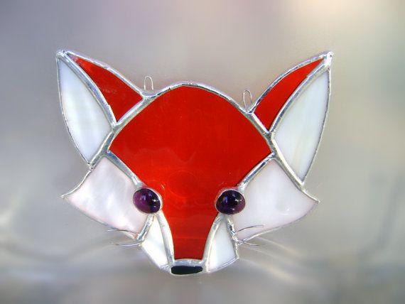 Red Fox Foxes Stained Glass Suncatcher Wild by GothicGlassStudio, $40.00