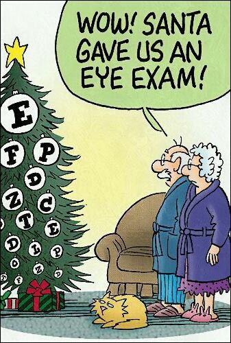 Christmas tree eye test cartoon