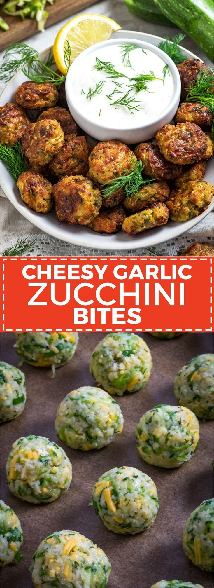 Cheesy Garlic Zucchini Bites. These are easy to make, super flavorful, and baked so they're much healthier than fritters! Serve 'em as snacks, appetizers, or even a side dish!