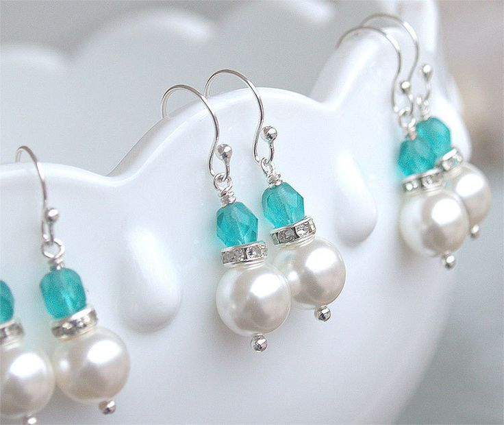 $13.00 25OFF SALE - Bridesmaid Earrings - Pearl Dangle Earrings in Silver - Malibu Turquoise Teal Blue Bridesmaid - Beach Wedding. $13.00, via Etsy.