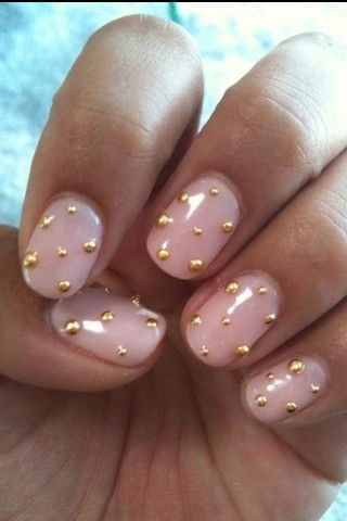 Pale Soft Pink Nail Polish with Gold Stud Polka Dots. Dotted. Spots.