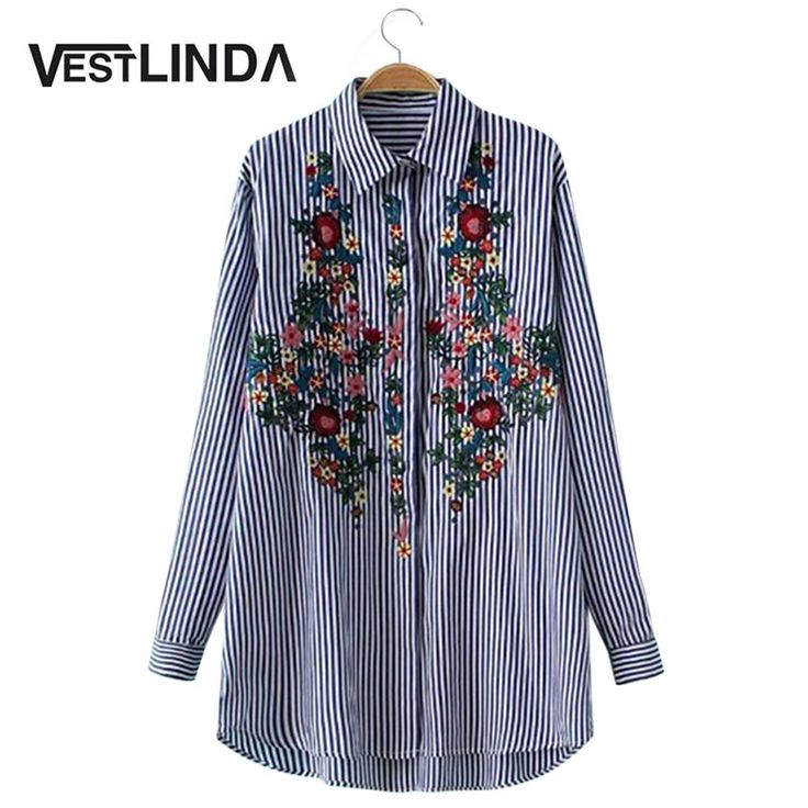 VESTLINDA Floral Embroidered Blouse Shirt Blue Stripe Women Tops Vintage Blouses Long Sleeve Spring Top Tees Casual Femme Blusas