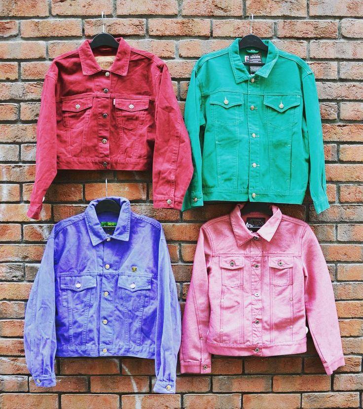 Colourful vintage jackets 🎨 denim style for women rainbow spring weekend szputnyikshop