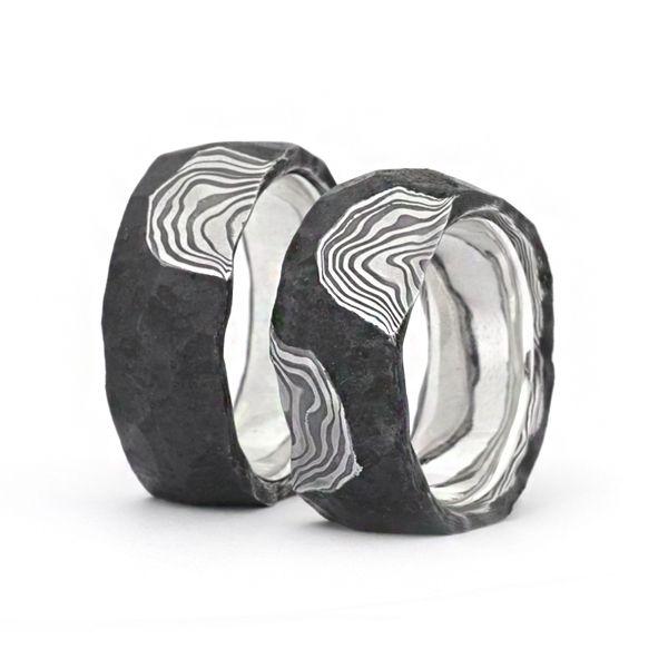 Eheringe Damaststahl / 925 Silber : N37 9-11mm breit, 2-4mm stark